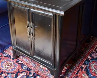 Pair of Asian inspired cabinet end tables