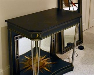 Painted console table with matching mirror