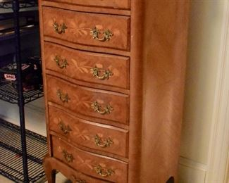 Marble top lingerie chest with inlay