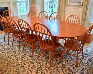 Grace Lee Designs natural cherry dining table and 12 Windsor chairs