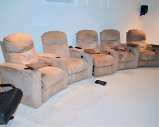 5 Seat reclining theater seats