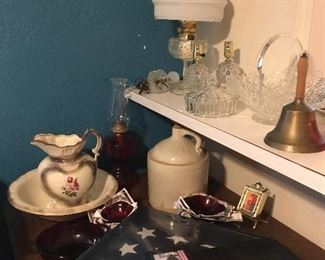 New Flag box, Brand new oil lamp, Pitcher with bowl