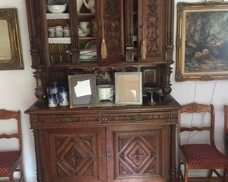 European carved wood china cupboard
