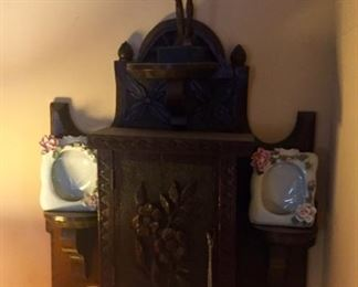 antique carved wood wall shelf