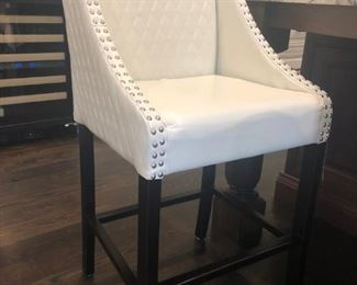 3 Cream Leather Barstools
