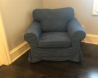 2 Ikea armchairs - 1 cream, 1 blue