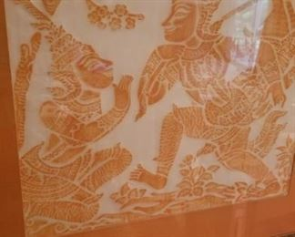 Thai paper art framed