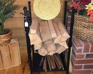 Firewood holder with fireplace utensils