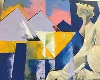 "Oil on Canvas by Olga Dunajera circa 1998 17"" x 24"" $100"