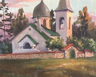"Landscape Oil on Canvas circa 1996  B. Kyzheuob 9.5"" x 11.5""  $80"