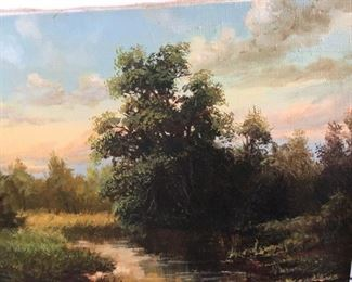 "Landscape     Oil on Canvas       Image Size    16.5"" x 19.5""  B.Kyemeuob circa 1997  $150"