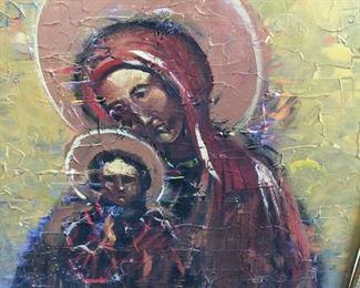 "Icon Portrait  Image Size 17"" x  24""  Circa  mid 1990's Oil on Canvas    unsigned  $100"