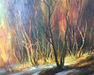 "Landscape     Oil on Canvas circa 1990    By Kyrnkob  39"" x  39""    $250"