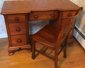 Vintage Maple Kneehole Desk and Chair