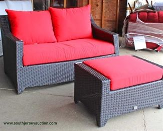 "NEW 2 Piece ""RST"" All Weather All Season Wicker Loveseat and Stool with Cushions Auction Estimate $200-$400 – Located Inside"