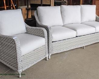 NEW 2 Piece Off White All Season All Weather Wicker Sofa and Chair with Cushions Auction Estimate $300-$600 – Located Inside