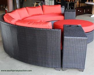 AWESOME NEW All Season All Weather 6 Piece Circular Sofa with Beverage Cup Holders and Round Ottoman with Cushions Auction Estimate $600-$1200 – Located Inside