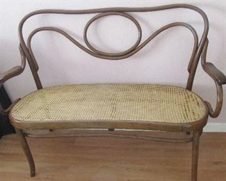 Bentwood bench with wicker seat