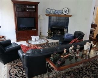 Blue Leather Sofa & 2 leather club chairs                                Glass Top Iron Base Sofa Table                                                          Gorgeous Rug