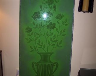 Etched Green Glass Panel