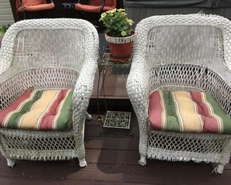 I love these matching wicker chairs.
