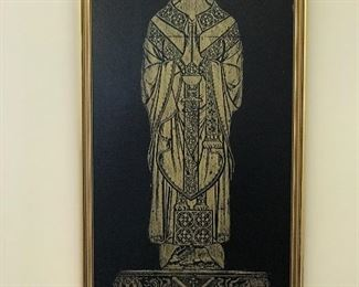 Rubbing of Clarical English - Monuamentl Brass - Owner lived in London England and learned this technique
