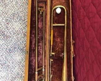 Vintage trombone with case and accessories