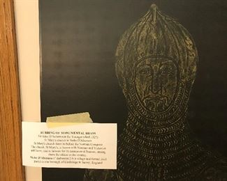 Rubbing of Monumental Brass - Sr Joh D'Aubernoun the Younger ( died 1327) St Mary's church in Stoke D'Abernon - St Mary's Church dates to before the Norman Conquest - this Rubbing technique was done by seller. - amazing