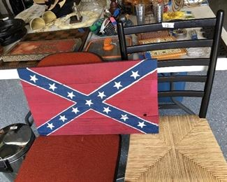 Chairs, wooden Rebel flag