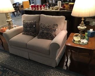 Love seat, end tables, lamps, Fenton