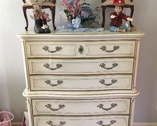 French Provincial chest of drawers, dolls