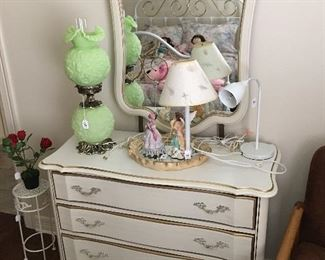 French Provincial dresser, Fenton Lamp