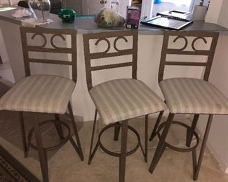 Three-piece barstools metal frames. Matches the dining room set and and table set . $100 all thee