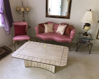 Pink settee $200 coffee table $100