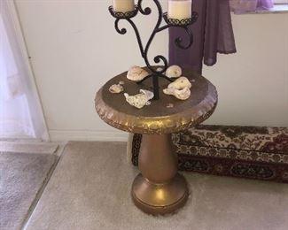 Pair of concrete table  set (upside down bird baths $60
