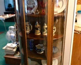 Oak curved glass cabinet