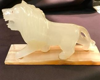 Onyx lion statue