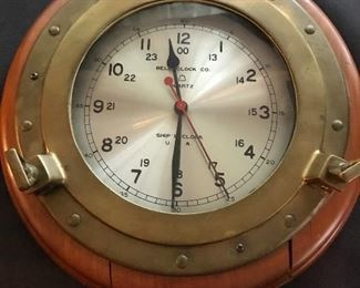 """Ship's clock by """"Bell Clock Co"""" (quartz) Made in USA"""