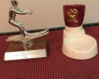 """Older ski trophy """"1969"""" and Shriner tray"""