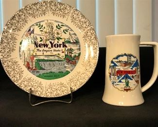 "Vintage ""New York"" souvenir plate and mug"