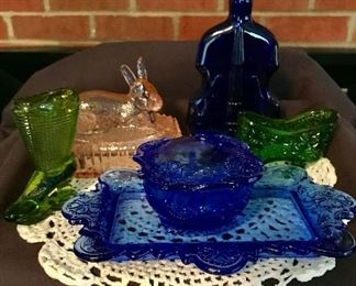 Vintage glass shoe match holder. Colored glass items