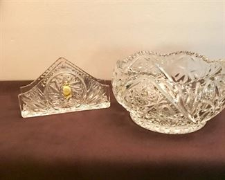 """Lead Crystal napkin holder, made in Poland. """"Imperlux"""" handcut bowl marked """"S""""."""