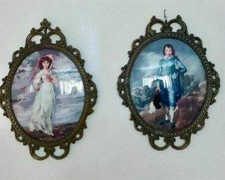 Older Pinky & Blueboy framed pictures marked Italy.