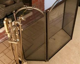 Fireplace screen and equipment