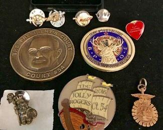 Jesters court pins, Elk's, FFA, Court 54 coin,