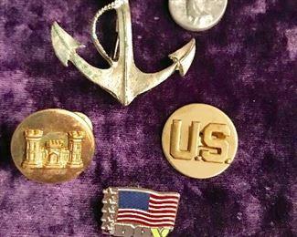 Navy pin, angel coin, Court 54 pin, DAV pin