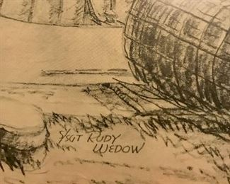 Signed prints from original WW II illustrations by S/Sgt Rudy Wedow