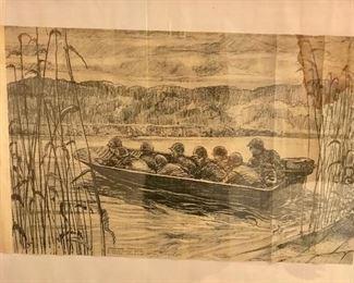 WW II prints of original illustrations by S/Sgt Rudy Wedow.
