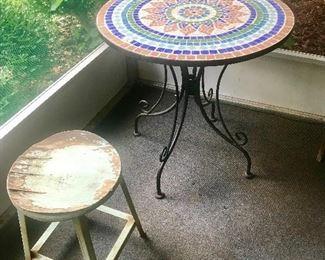 Mosaic top patio table, metal stool