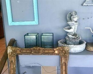 Frames, small fountain,